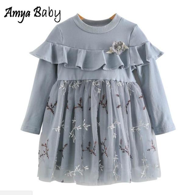 Amya Baby Long Sleeve Kids Dresses For Girls Lace Ruffles Little Girls Dresses Princess Costume Toddler Clothes Girls Tutu Dress