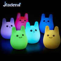 Jiaderui Lovely Rabbit Silicone Touch Sensor LED Night Lamp USB Rechargeable Stress Reliever Baby Room Bedside