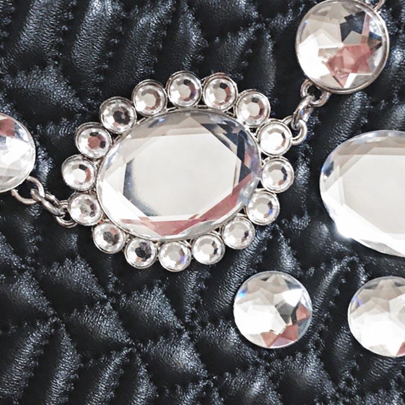 Designer Noir argent À En Peau Eveing Mouton Pièces rose Luxe Diamants Bandoulière Main Mode Messenger Sacs Benviched Femmes De IU1wa8qZ0x