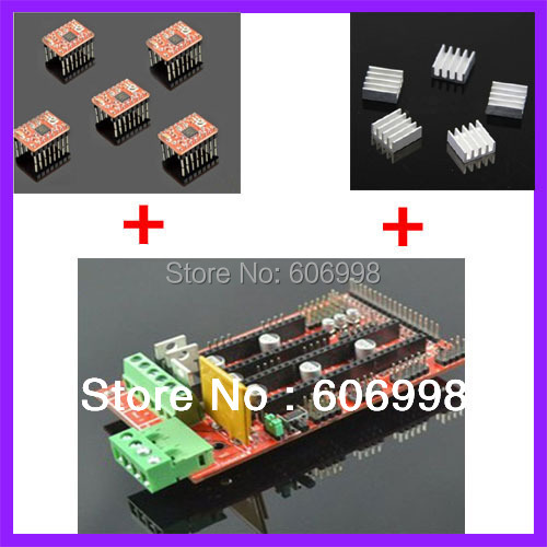 RAMPS 1.4 Controller Board + 5pcs Heat Sink + 5pcs A4988 Stepper Driver Module For 3D Printer Kit