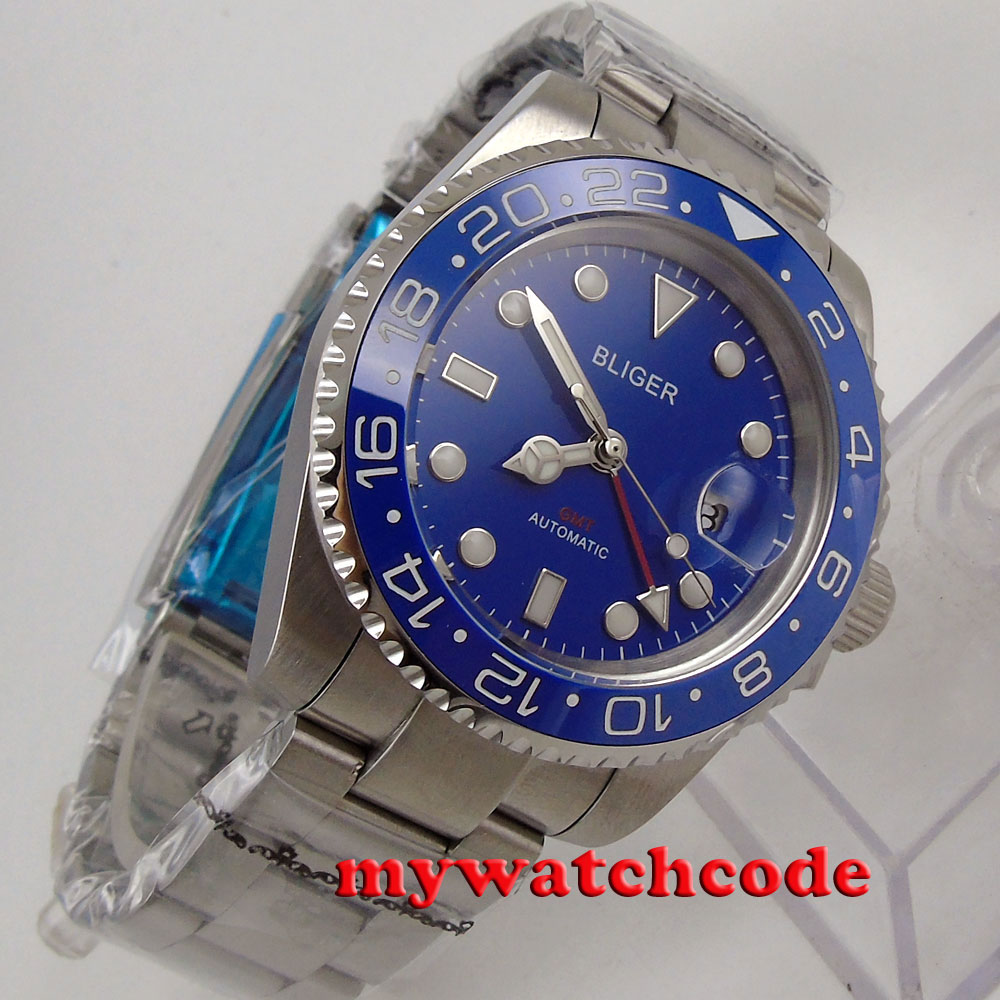 40mm Bliger blue dial luminous GMT date sapphire glass automatic mens watch 181