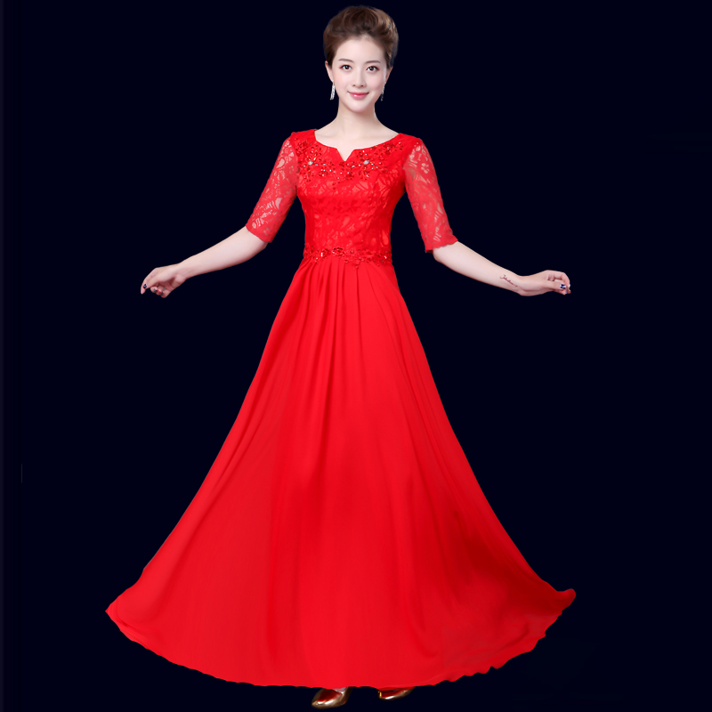 Fishday Evening Gowns Dresses Cheap Long Chiffon Women Sleeved ...