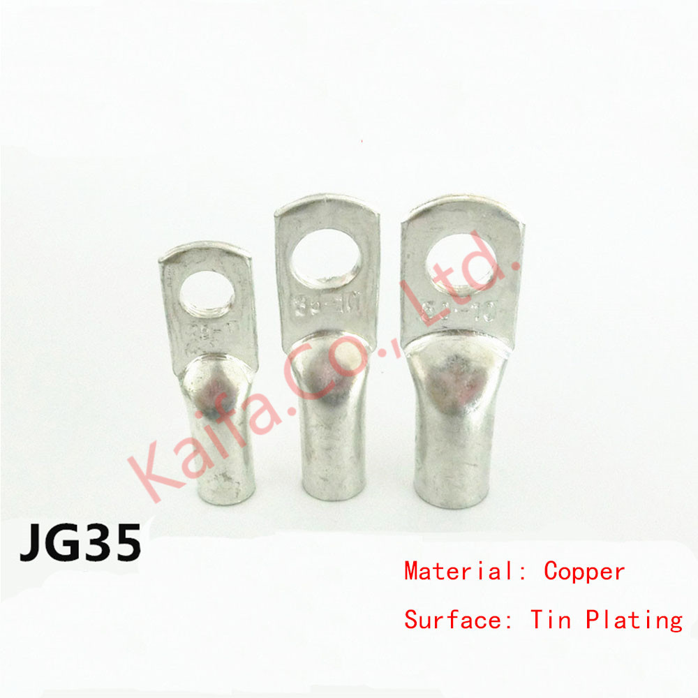 10PCS JG35-8/10/12 Tined copper connecting terminal bolt hole cable lugs battery terminals square wire Cable terminal joint