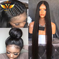 Straight Synthetic Lace Front Wig With Baby Hair Black Silky Wig African American Synthetic Lace Front Hair Wigs for Black Women