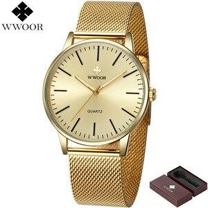 Image 2 - WWOOR Homens Simples Relógio De Quartzo de Ouro Fino Malha Ultra finos Homens de Aço Relógios de Luxo Da Marca À Prova D Água Masculino Relógio de Pulso de Ouro relógio