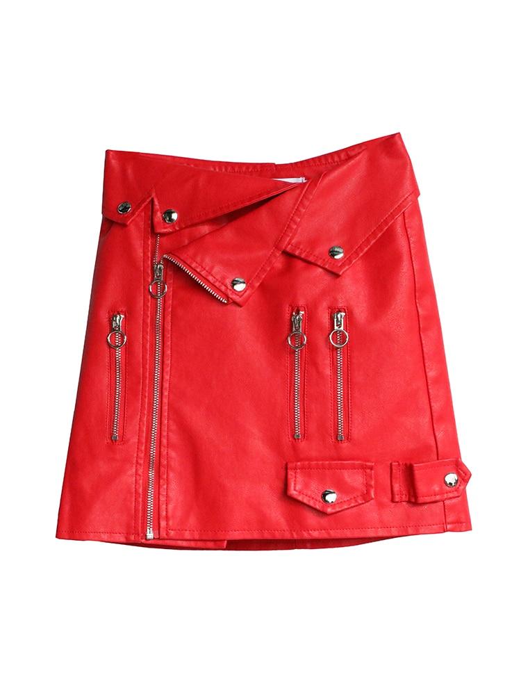 Con La Negro Faldas Mujeres Doble En Alta rojo Cintura Lápiz De Botón Las Damas Encuentro Pu Cuero Falda wUqIgpx