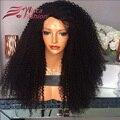 Афро Кудрявый Вьющиеся Плотность 180% Glueless Кружева Перед Парики Для Черного женщины Бразильский Человеческих Волос Полный Парик Шнурка Девы Густые Волосы Парики