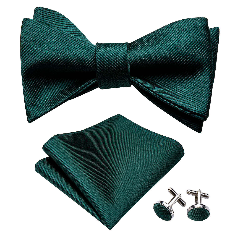 Self Bow Ties For Men Silk Butterfly Men Tie Green Designer Hanky Cufflinks Suit Collar Removable Butterfly Barry.WangLH-1012
