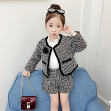 Ins Girls Fall Autumn Princess Winter outfit Black Plaid fashion Long sleeve coat + short set Kids Baby Clothing ST19052