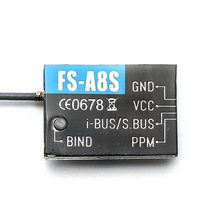 Flysky FS-A8S 2.4G 8CH Mini Receiver with PPM i-BUS SBUS Output For Rc Airplane Compatible with FS-i4 FS-i6 FS-i6S FS-i6X FS-i10
