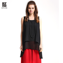 Outline Brand Women Spring Solid T-shirt With Vintage National Trend Loose Tops In Cotton Linen Black Maxi Casual Camis L171Y020