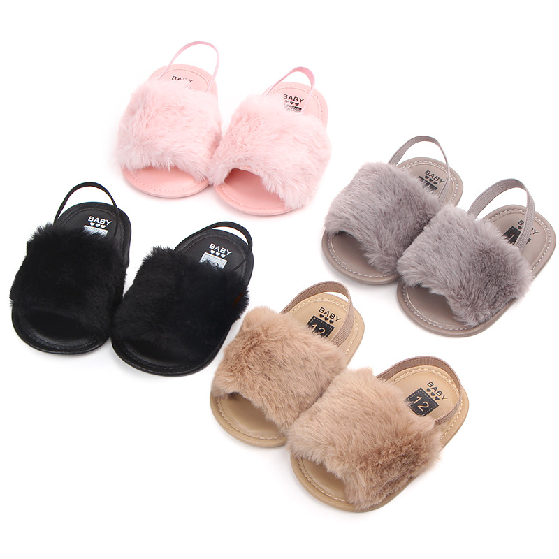 aa0ad8698bb04 US $2.66 20% OFF|2019 New Fashion Faux Fur Summer Baby Shoes Cute Infant  Baby boys and girls sandals soft sole indoor grey black baby slippers-in ...