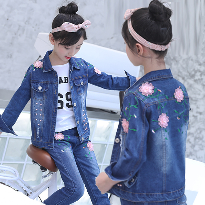 2018 new children cowboy suit spring and autumn girls jeans cloth set flower version girl two-piece body suit kids clothing set стоимость