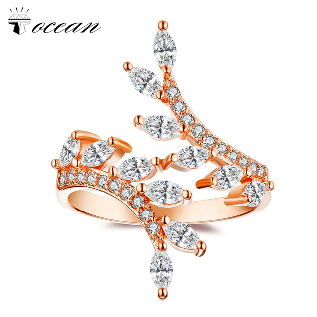 Tocean Rose Gold Color Fashion Flower Wedding Rings for Women Oval Cut AAA Zircon Engagement Bijoux Bague Size 5-12 w103