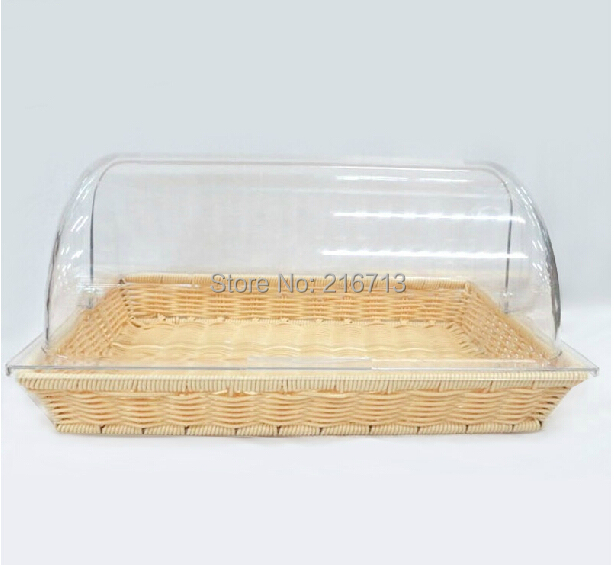 Rectangle Bread Basket PC Folding Lid Easy For Storage Bread Box  Bread Box  Storage