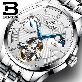 Switzerland BINGER Tourbillon Mechanical Watch Automatic Watch Men Moon phase Full Steel band Sapphire Luminous Waterproof Clock Mechanical Watches