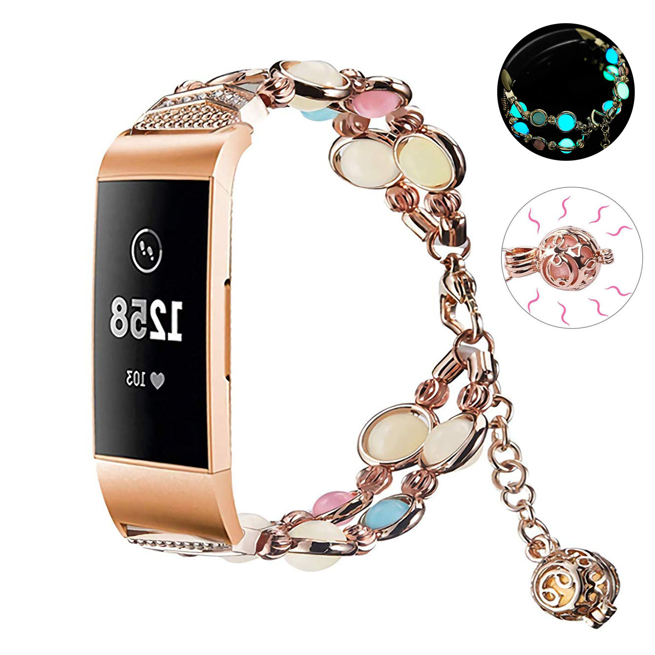 Essidi For Fitbit Charge 3 Smart Bracelet Strap Luminous Beads Stainless Steel Watch Band Loop For Fitbit Charge 3 Wristband