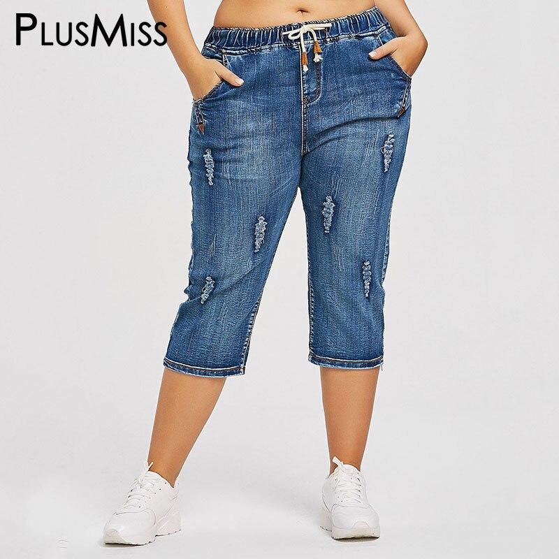 PlusMiss Plus Taille 4XL Cordon Taille Petit Ami Capris Jeans Maman Femmes Lâche Déchiré Affligé Denim Recadrée Pantalon Grande Taille