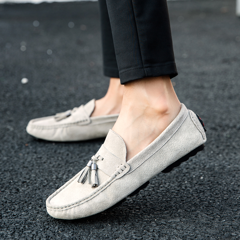 Fashion Mens Suede Shoes Spring Autumn Man Tassel Loafers Black Khaki Driving Male Loafers Comfortable Retro Loafers Men