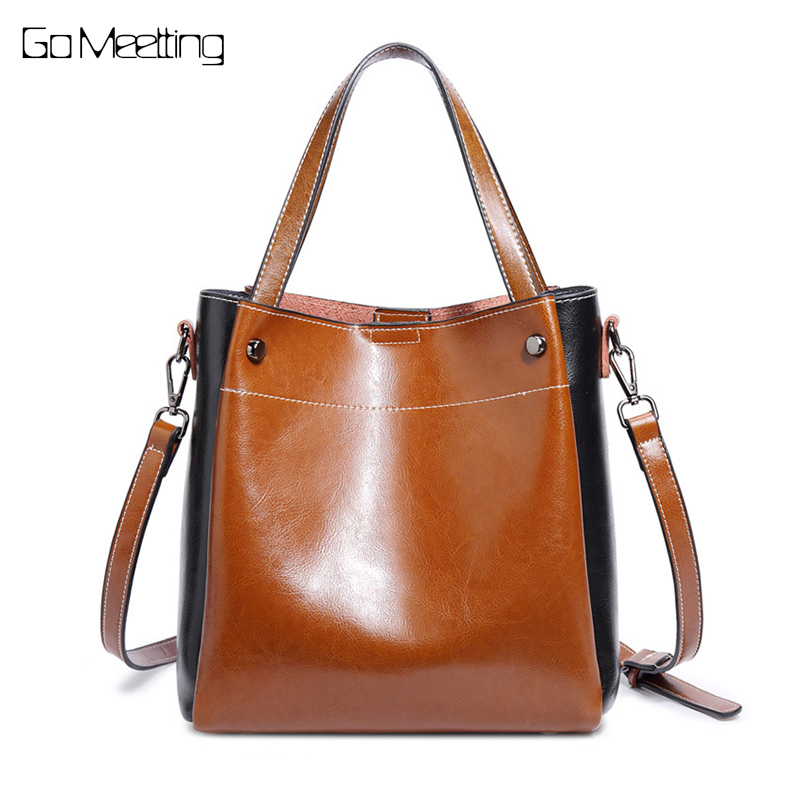 Go Meetting Wax oil Leather Women Shoulder Bag High Quality Cow Leather Ladies Crossbody Bags Fashion female Handbags 2017 New high quality cow leather women bag vintage oil leather wax smiley crossbody bag summer bags 4colors cute pig face bag 3025