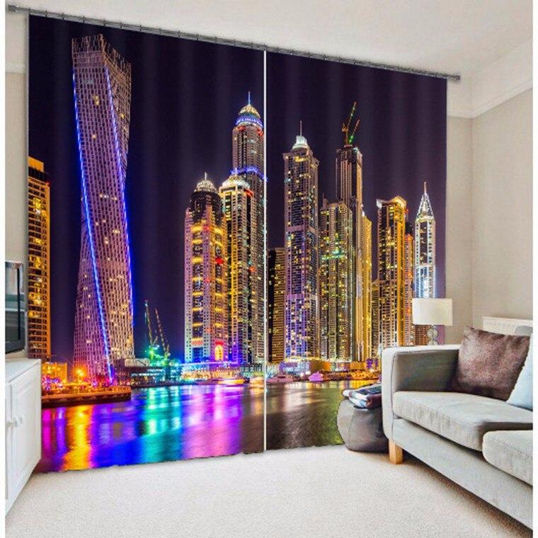 Tecido sombra Luz Da Cidade 3D Foto Impressão Cortinas Blackout Para sala de estar de Cama quarto de Hotel Cortinas Cortinas parágrafo sala