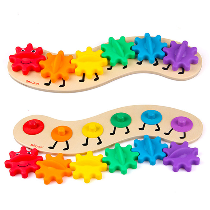 Kids Colorful Gear Carpenterworm Toy Children Wooden Puzzle Twisting Educational Toys Funny Children
