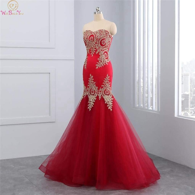 Mermaid Prom Dress 2019 Luxury Appliques Tulle Floor Length Wine Red Strapless Lace Sleeveless Lace-up Back Sexy Evening Dresses