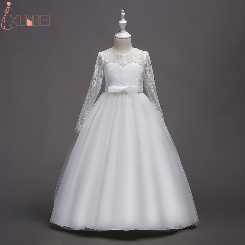 2018 Floor Length Ball Gown   Flower     Girl     Dresses   With Long Sleeves White Kids Communion   Dresses   Lace Pageant   Dresses   For Kids