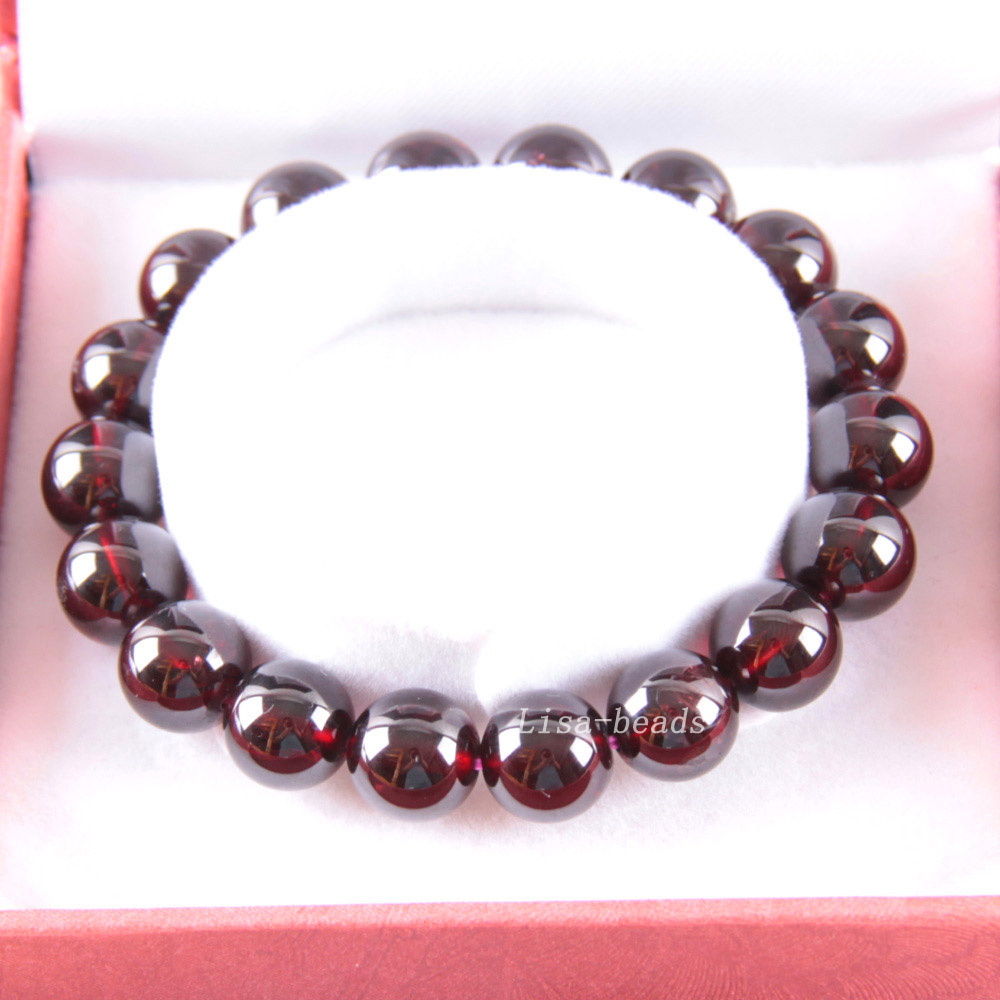 Free Shipping Fine Jewelry Stretch Red Round Beads 11MM AA 100% Natural Garnet Bracelet 7 with Box 1Pcs J035 free shipping fine jewelry stretch red round beads 9mm aa 100