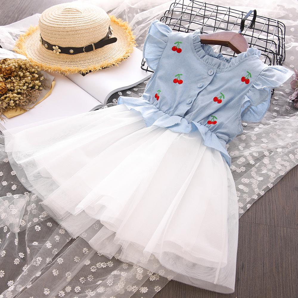 Kids Girls Ruffle Sleeveless Summer Denim Dress Casual  Party Sundress Clothing