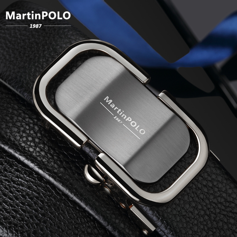 MartinPOLO luxury mens genuine leather belt gold Automatic Buckle male belts cowhide strap For Men  MP0302P