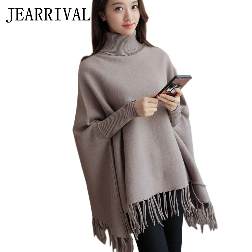 Women Turtleneck Knitted Poncho Sweater 2017 Spring Autumn Fashion ...