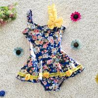 New Flowers Design Kids Swimsuit Quality Girls Swimwear Teenagers One pieces Blue Lovely Bath Suit Infant Children Beachwear