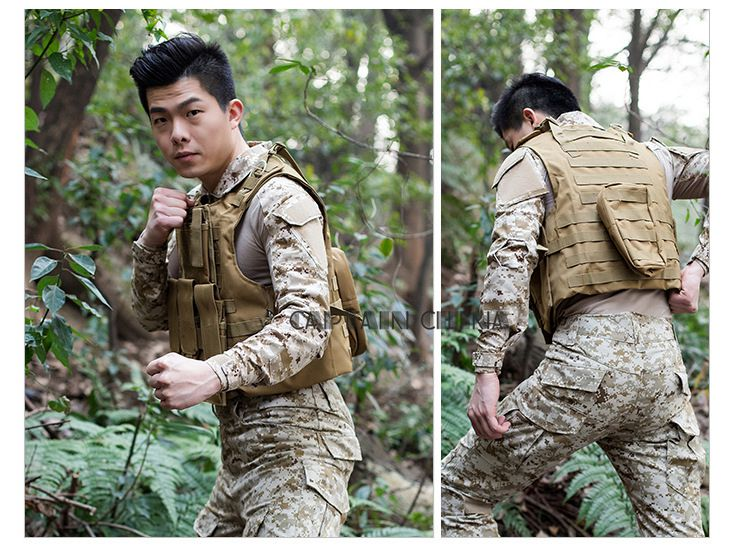 Molle CIRAS Tactical Vest Airsoft Paintball Combat Vest W/Magazine Pouch+Utility Bag Releasable Armor Carrier Vest ACU Woodland