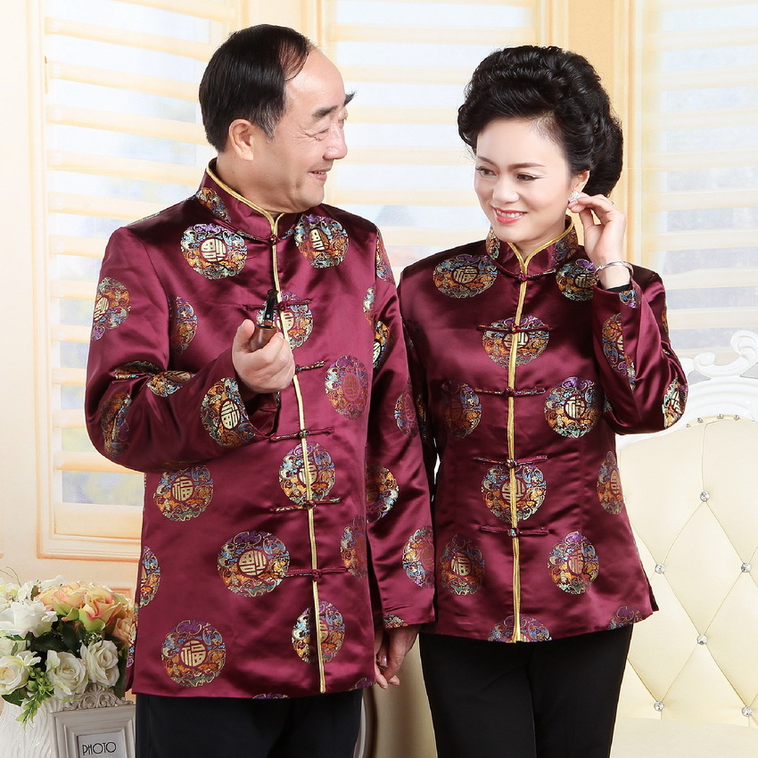 Ancient Chinese National Costume for Women Men Tops Long Sleeve Middle Age Jacket Traditional Birthday Wedding Clothing