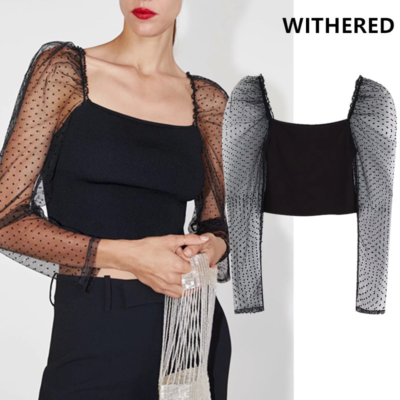Withered blusas mujer de moda <font><b>2019</b></font> england <font><b>sexy</b></font> perspective <font><b>Mesh</b></font> and knitted <font><b>splicing</b></font> crop <font><b>blouse</b></font> women womens tops and <font><b>blouses</b></font> image