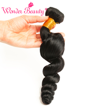 Wonder Beauty hair weaves Non-remy Hair one bundle only wavy 8-26 inches natural black color Malaysia loose wave free shipping