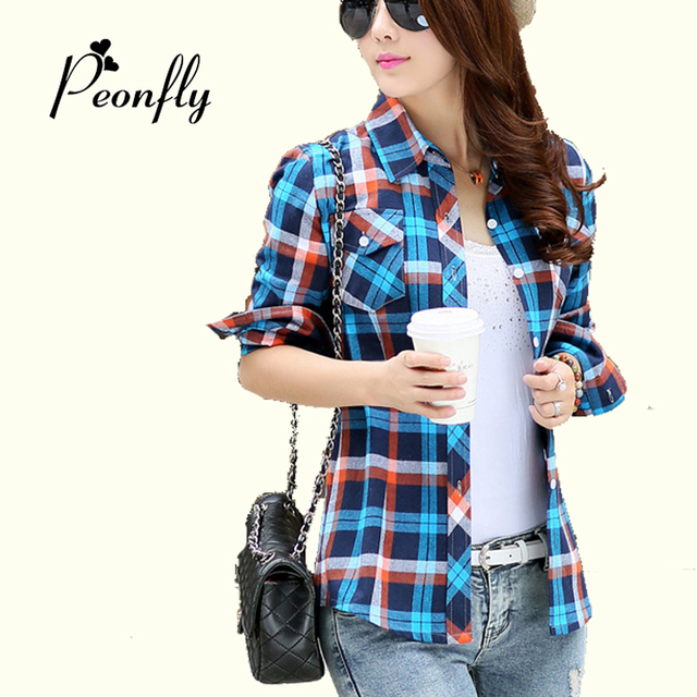 5a3ea7a2b027b 2017 New Casual Button Down Lapel Neck Plaids Checks Flannel Shirts Women  Long Sleeve Tops Blouse