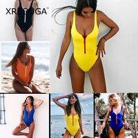 XREOUGA One Piece Bust Zipper Bikini Women Sexy Brazilian Solid Maillot De Bain Push Up Strapless
