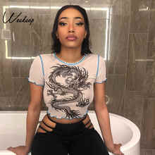 Weekeep Seksi Dipotong Perspektif Mesh Top T Shirt Wanita Naga Putih Cetak O-leher Bodycon Tshirt Summer Fashion Crop Top 2019(China)