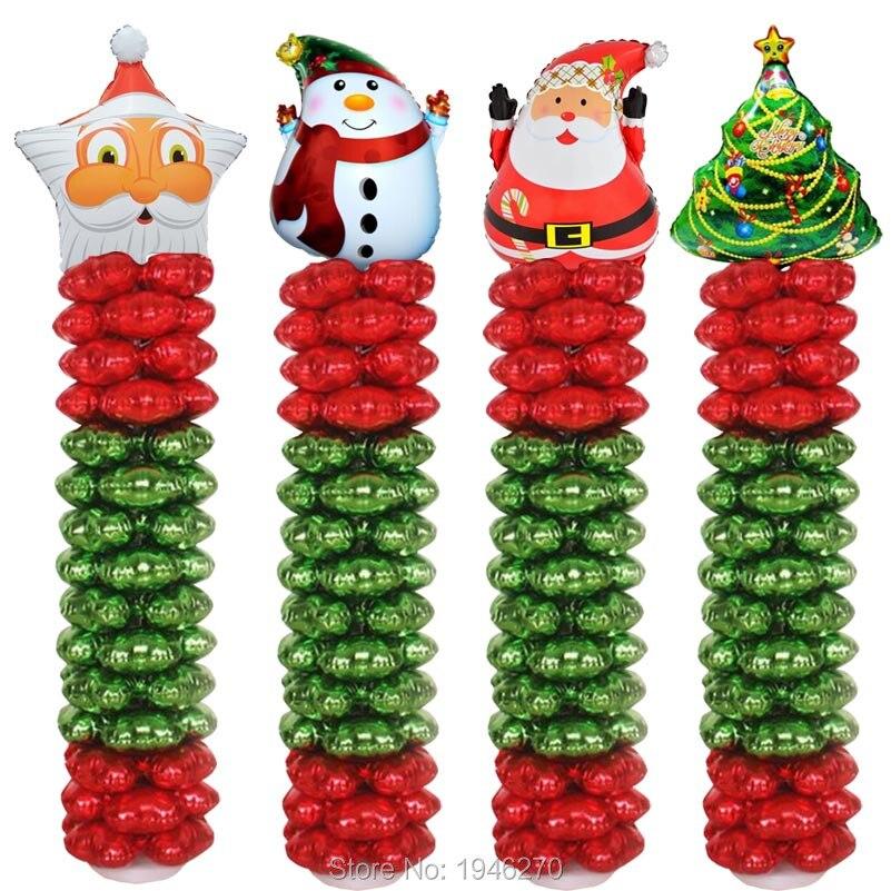 1803 1 Juego De Globos Columna Arco Feliz Navidad Decoración 4 Pétalos Hoja Globos Navidad Suministros Hogar Y Jardín Decoración Base Y Globo Y