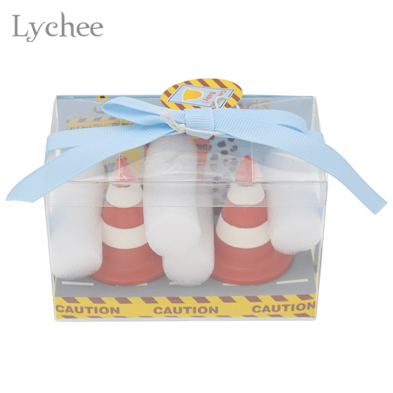 Lychee 1 Pair Traffic Cone Cake Candle Baby Shower Favors