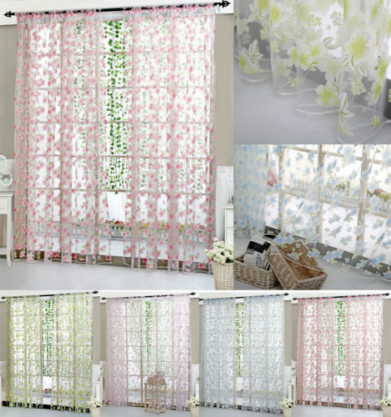 Floral Tulle Door Window Voile Curtain  Drape Panel Sheer Scarf Valances Divider