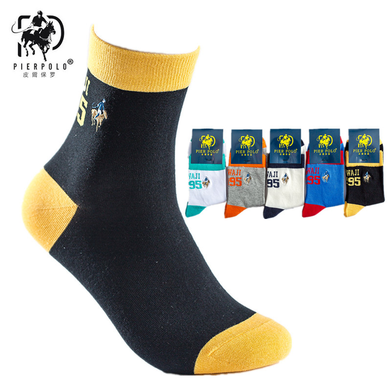 Men's Socks 2019 Pier Polo Men Fashion Cotton Socks Calcetines Hombre Autumn And Winter New Cotton Color English Alphabet Casual Male Socks