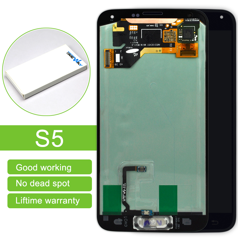 1 pcs Black White With Home Button LCD for Samsung S5 i9600 G900A G900T LCD Screen Touch Digitizer Assembly Replacement