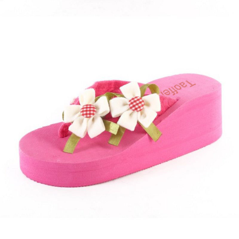 TAOFFEN Sweety Summer Beach Shoes Women Thick Paltform Wedges Slippers Women Flower Flip Flops Shoes Soft Footwear Size 36-39