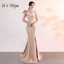 C092 Yiiya それの ワンショルダーイブニングドレスノースリーブエレガントな床長さのマーメイドロングパーティーガウンジッパーバックウェディングドレスドレス