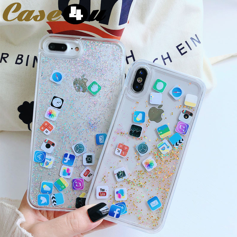 Glitter Mobile Apps Icon Liquid Quicksand Case for iPhone XS Max XR X 10 6 6s 7 8 Plus Quick Sand Transparent Cover accessories(China)