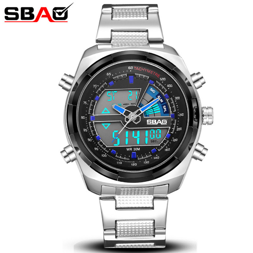 SBAO Dual Time Sport Watches Men Luxury Chronograph LED Display Clock Man Watch Waterproof Stainless Steel Wrist Watch for Men splendid brand new boys girls students time clock electronic digital lcd wrist sport watch
