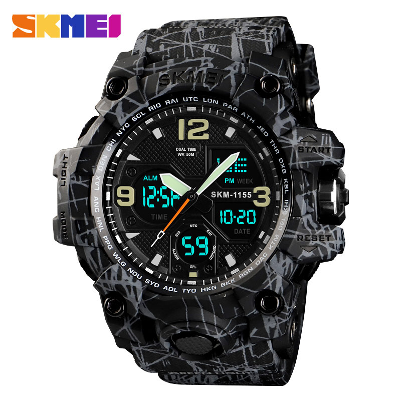 Bild av SKMEI Men Military Watch 50M Waterproof Wristwatch LED Quartz Clock Sport Watch Male Rrelogios Masculino Outdoor Sport Watch Men